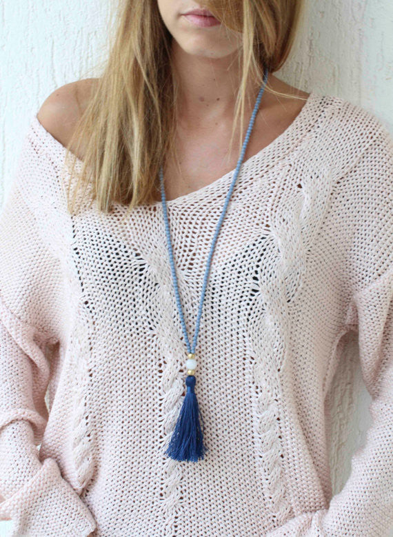 LIZA BLEU TASSEL NECKLACE - HARPER KELLEY