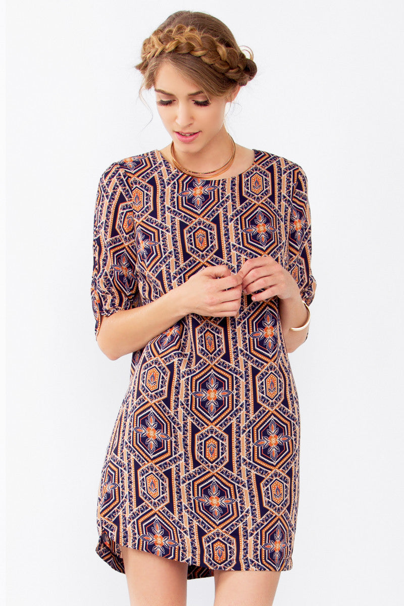 ABSTRACT GEO SHIFT DRESS - HARPER KELLEY  - 1