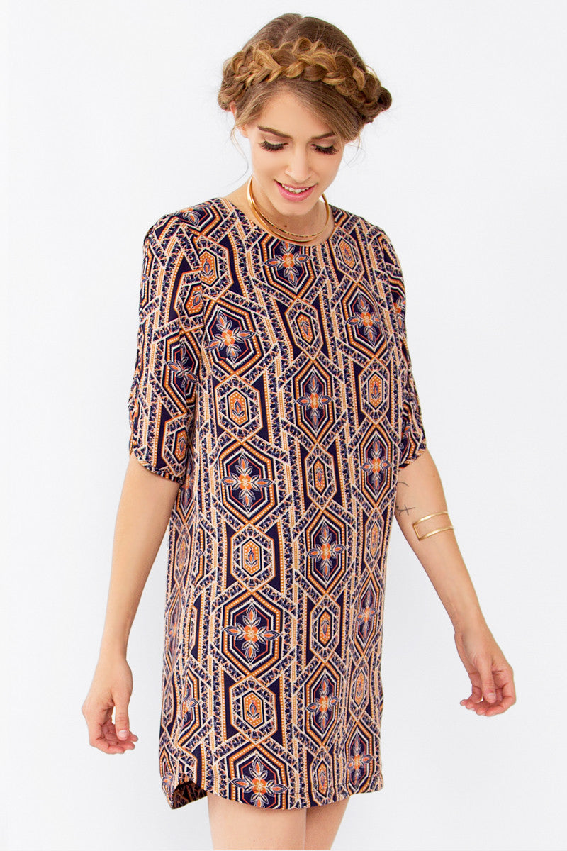 ABSTRACT GEO SHIFT DRESS - HARPER KELLEY  - 2