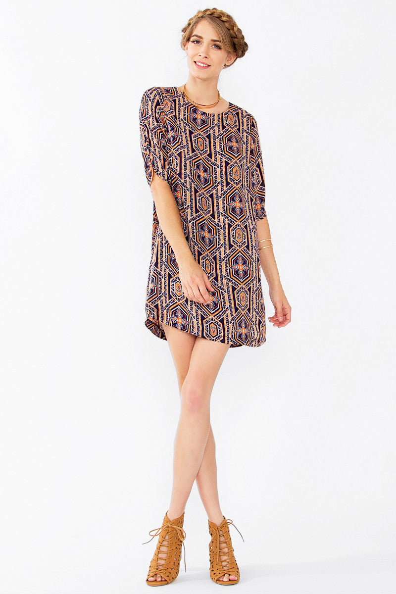 ABSTRACT GEO SHIFT DRESS - HARPER KELLEY  - 4