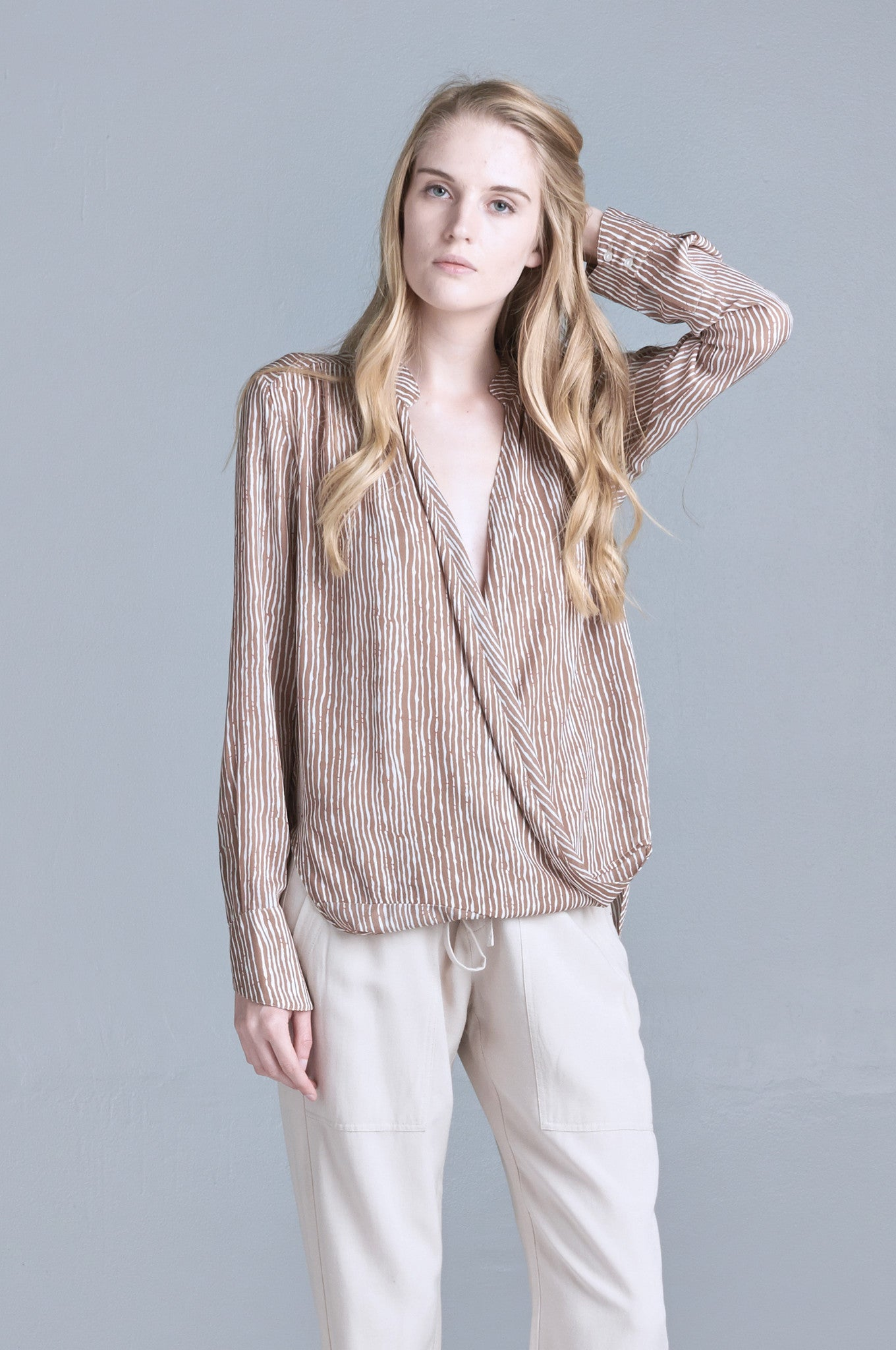 TAUPE WRAP BLOUSE - HARPER KELLEY