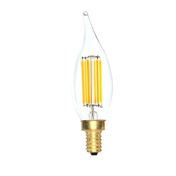 LED Candelabra Bulb 60W Equivalent Warm White 2200K Dimmable Bent Flame Tip