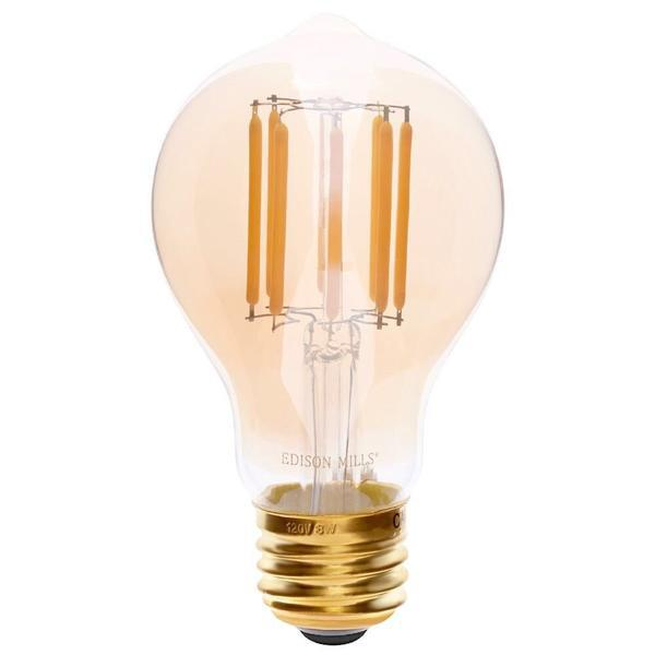Vintage LED Filament Light Bulb, A19 Shape, Amber Glass, 8 watts 75W equal, Warm White 2700K, Dimmable