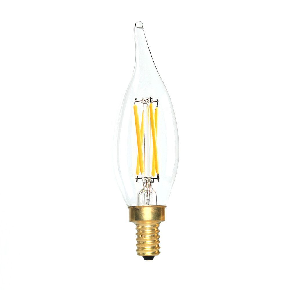 LED Candelabra Bulb 40W Equivalent Warm White 2700K Dimmable Flame Tip
