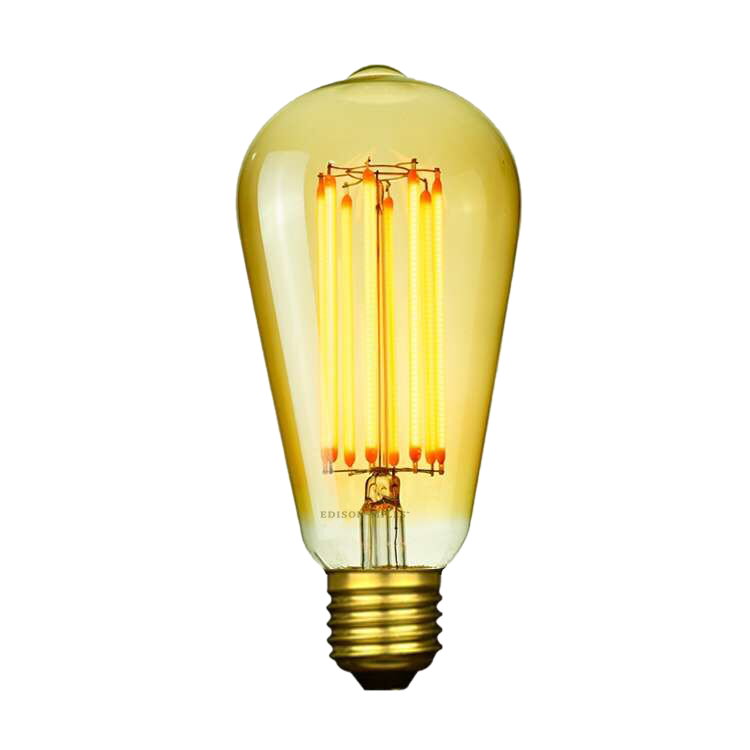 ST58 LED Edison Light Bulb 6W filament, 60 Watt Equal, 2200K warm white, dimmable