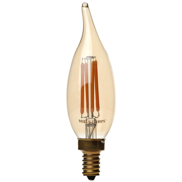 LED Candelabra Bulb, 2 Watt, 40W Equivalent, Bent Flame Tip, 2200K Warm White, Dimmable