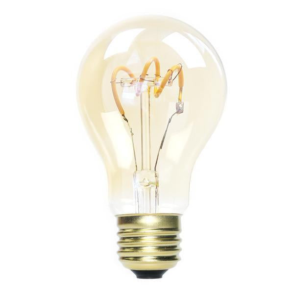 Spiral LED Filament Light Bulb, Antique Edison Style, A19, 2W, 25 Watt Equal, Amber Glass, 1800K Extra Warm Glow, Dimmable