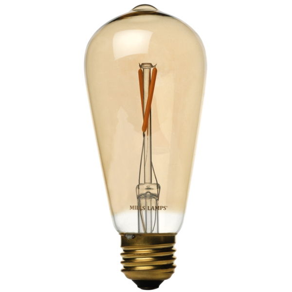 LED Edison Light Bulb, ST58 Vintage 2W Filament, 40 Watt Equal, 2200K Warm White, Amber Glass, Dimmable