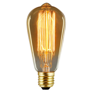ST58 Edison Light Bulb, Vintage Filament, Antique Style Glass, 60W, 280 lumens, 120V dimmable,