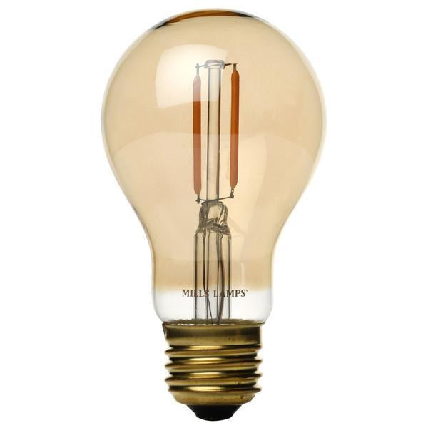 Edison LED Light Bulb, Antique Style LED Filament, A19, 2W, 40 Watt Equal, Vintage Amber Glass, 2200K Warm White, Dimmable