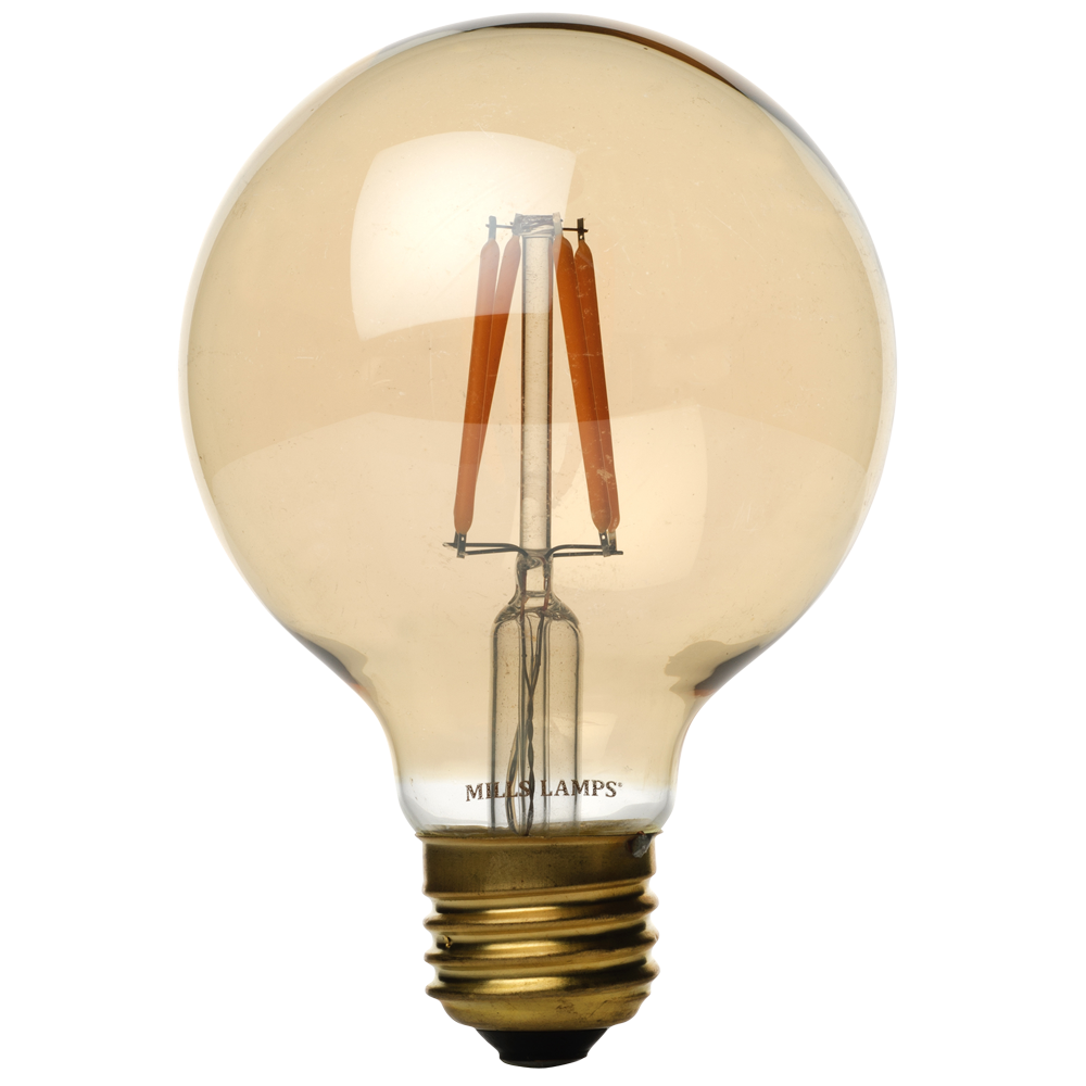 Vintage G25 Globe Antique LED Filament Light Bulb, Amber Glass, 2W, 40 Watt Equal, 2200K Warm White, Dimmable