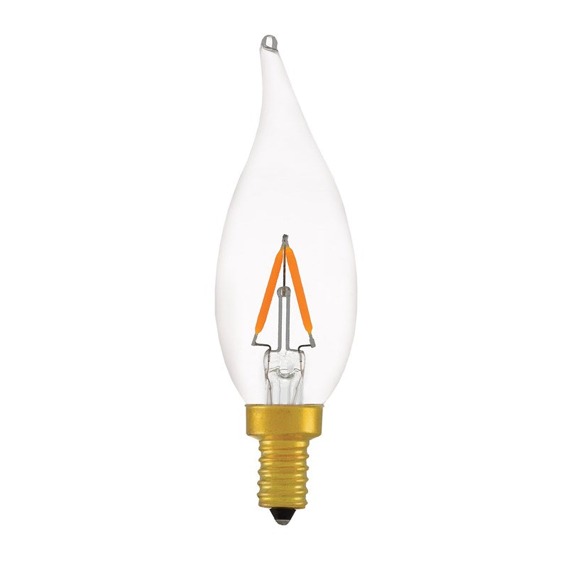 LED Chandelier Filament Bulb 4W - 40 Watt Equal - Flame Tip - 2200K - Clear Glass - Dimmable - Brass E12 Base