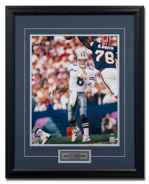 Troy Aikman Dallas Cowboys Autographed NFL Football Game Action 25x31 Frame