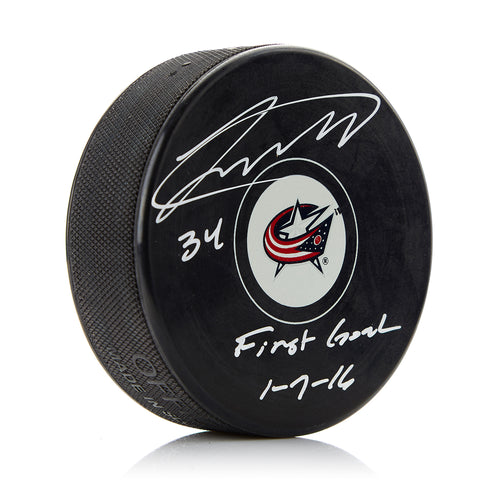 Josh Anderson Columbus Blue Jackets Signed Autograph Model Hockey Puck with First Goal Note