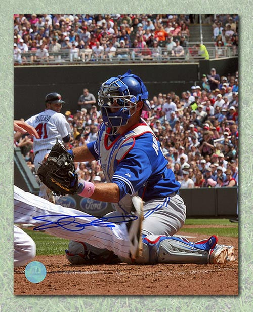 J.P. Arencibia Toronto Blue Jays Autographed Blocking Home Plate 8x10 Photo