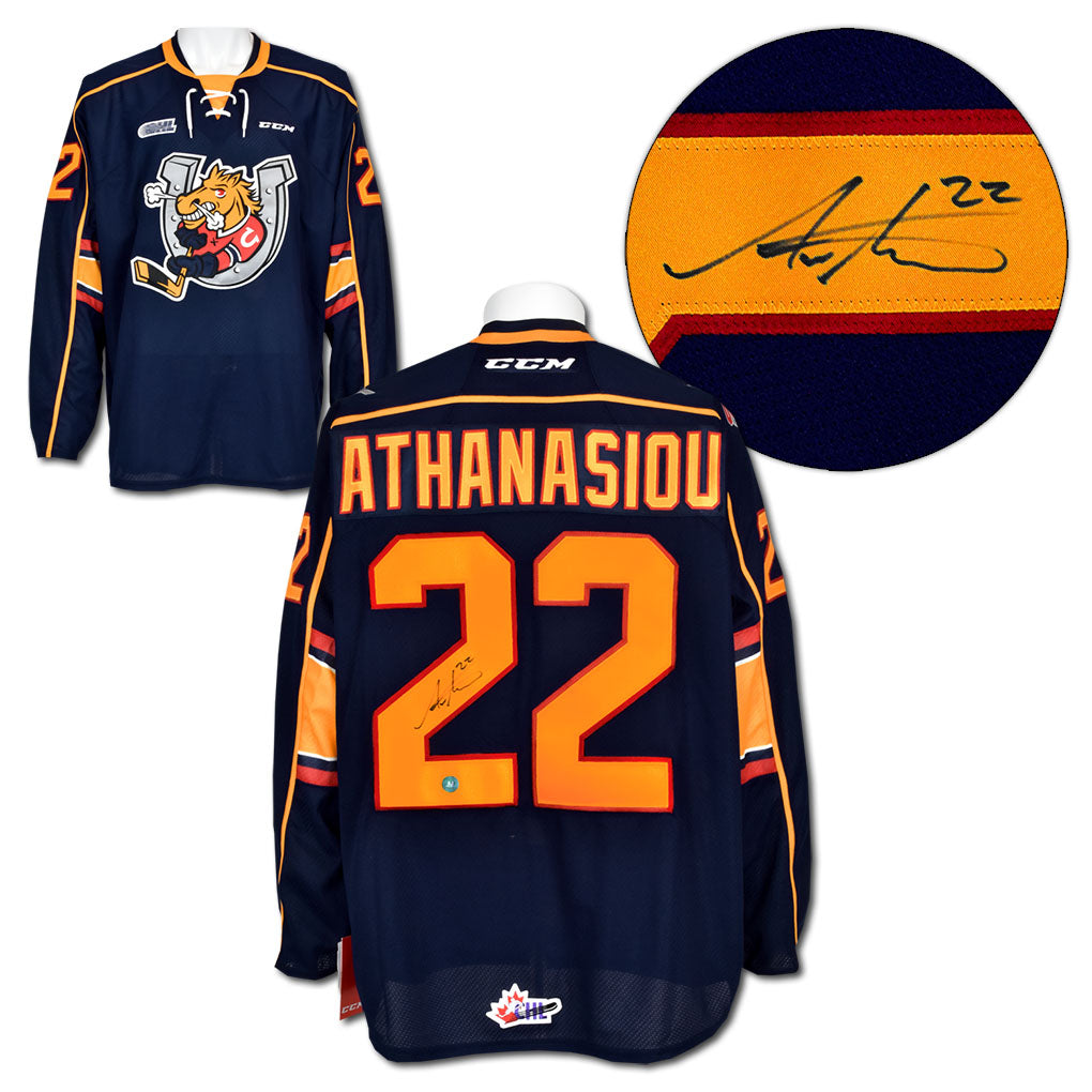 lowest price 856dc d8323 Andreas Athanasiou Barrie Colts Autographed CCM Premier CHL Hockey Jersey