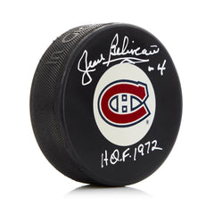 Jean Beliveau Montreal Canadiens Autographed Puck with HOF 1972 Note