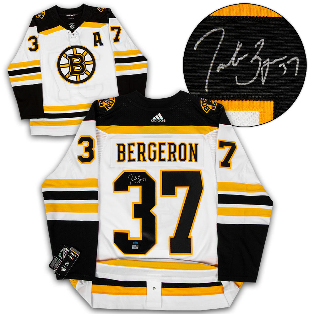 low priced 2278d 7c9e8 Patrice Bergeron Boston Bruins Autographed White Adidas Authentic Hockey  Jersey
