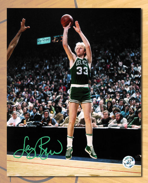 Larry Bird Boston Celtics Autographed Basketball Shot 8x10 Photo - Bird Holo