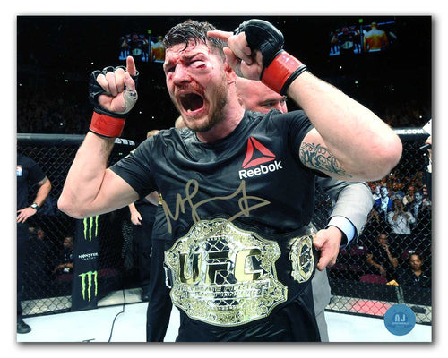 Michael Bisping Autographed MMA Fight Champion with UFC Belt 8x10 Photo