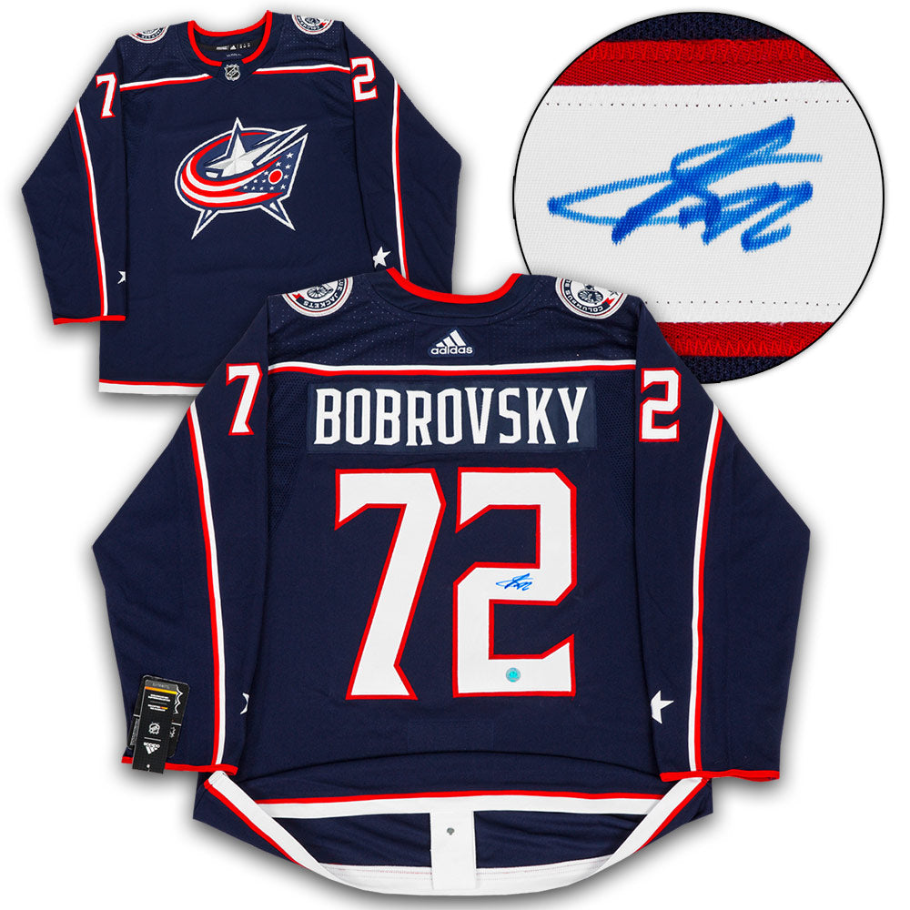 timeless design 03475 2d939 Sergei Bobrovsky Columbus Blue Jackets Signed Adidas Authentic Hockey Jersey