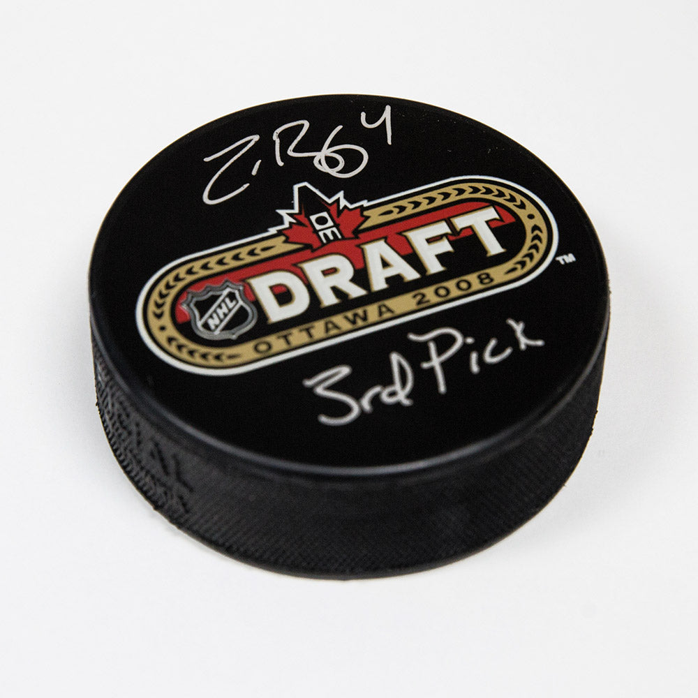 Zach Bogosian 2008 NHL Draft Day Autographed Puck with 3rd Pick Inscription