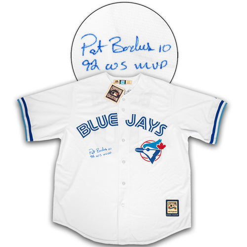 Pat Borders Toronto Blue Jays Autographed Retro Baseball Jersey with MVP Note