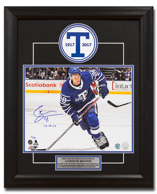Connor Brown Toronto Arenas Signed Leafs Next Century Game 19x23 Frame #/100