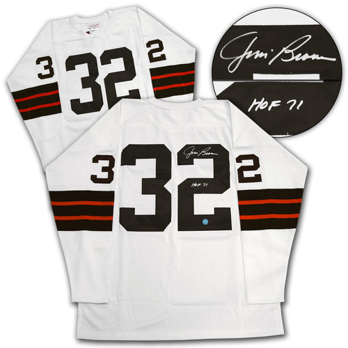 Jim Brown Cleveland Browns Autographed Mitchell & Ness Football Jersey