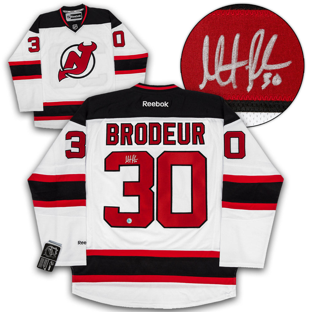 low priced fb5fc 786c0 Martin Brodeur New Jersey Devils Autographed White Reebok Premier Hockey  Jersey