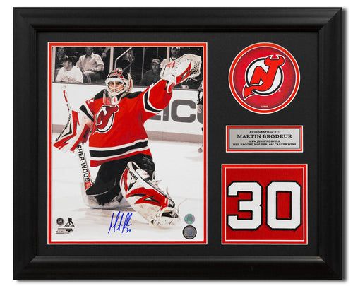 Martin Brodeur New Jersey Devils Signed Retired Jersey Number 23x19 Frame