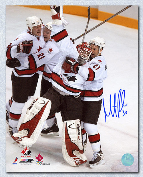 Martin Brodeur Team Canada Autographed 2002 Gold Medal Celebration 8x10 Photo