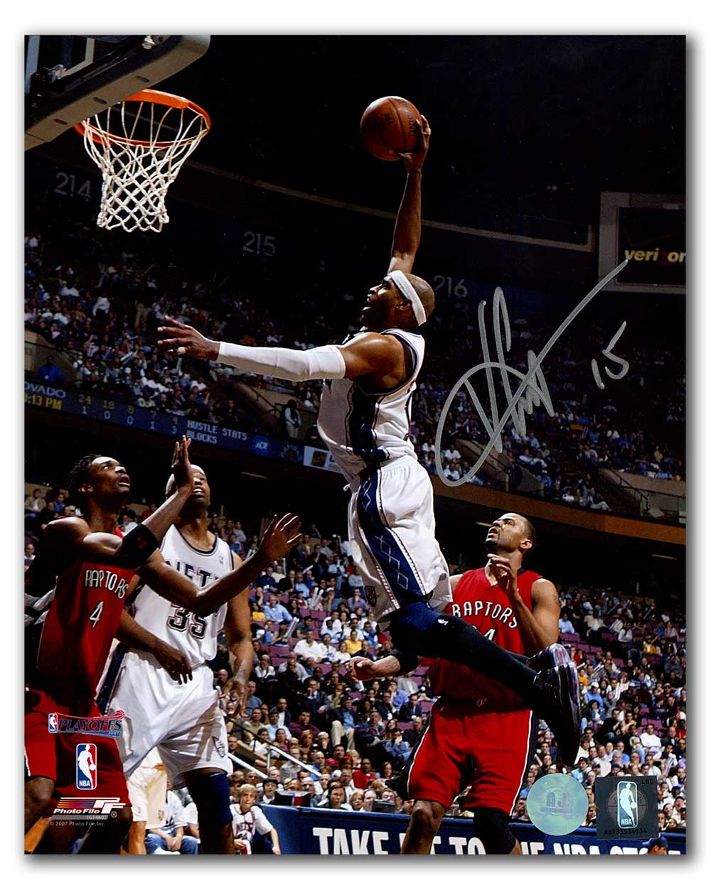 1debd727498 Vince Carter New Jersey Nets Autographed Playoffs Dunk vs Raptors 8x10 Photo
