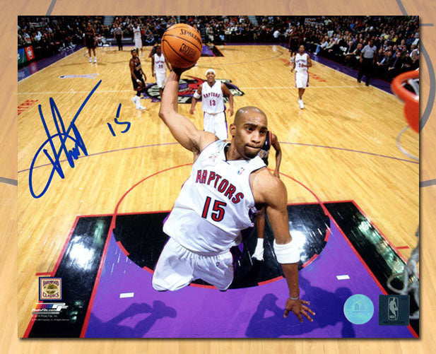 Vince Carter Toronto Raptors Autographed Air Canada Net Cam Dunk 8x10 Photo