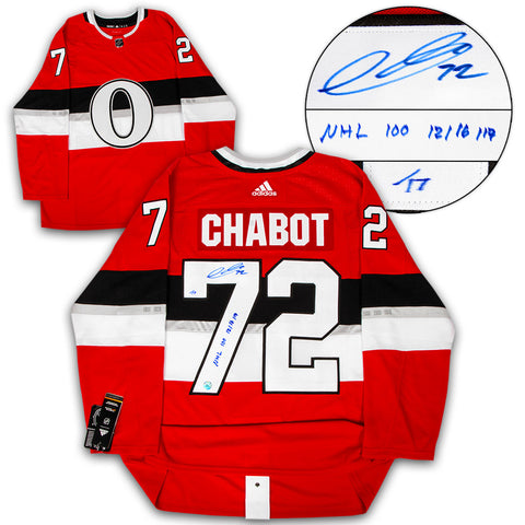 Brady Tkachuk Ottawa Senators Signed & Dated 1st Goal Adidas Authentic Jersey #/77