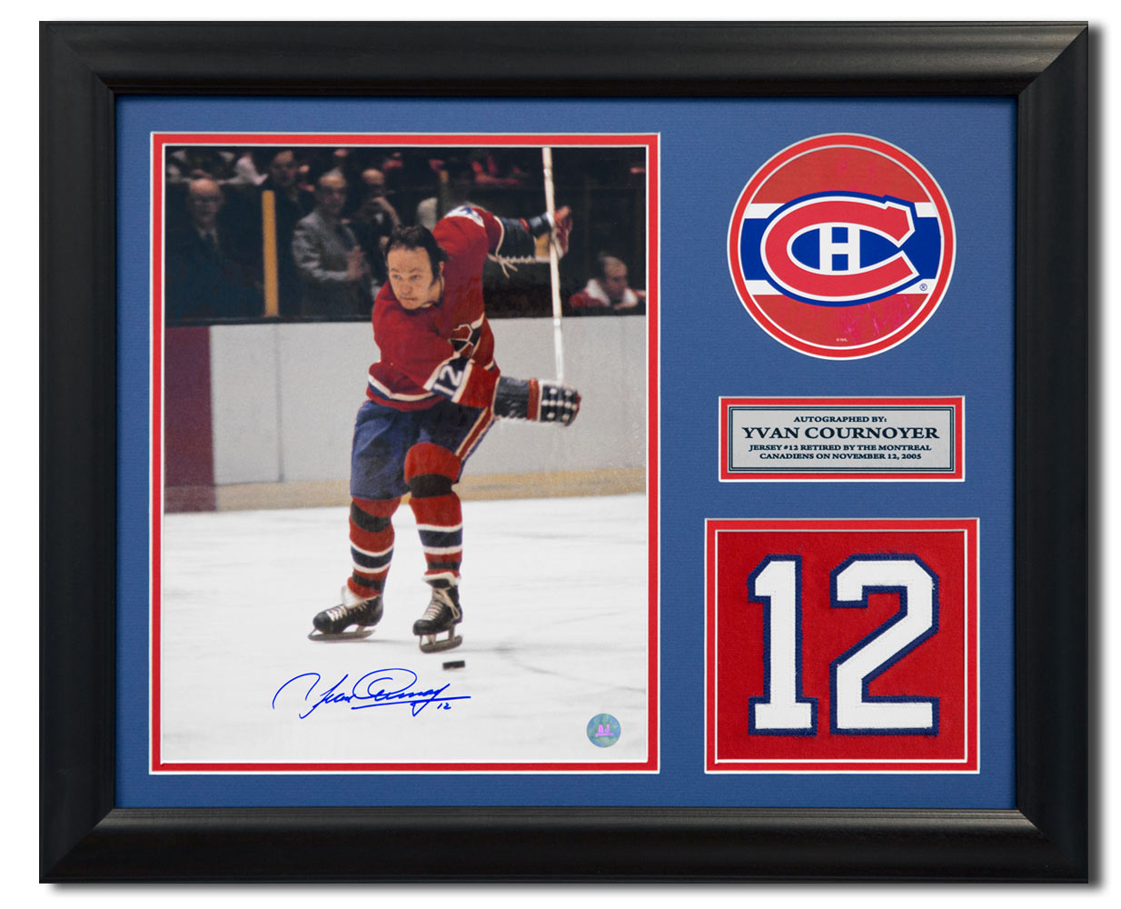 online store 1257b f599b Yvan Cournoyer Montreal Canadiens Signed Retired Jersey Number 23x19 Frame