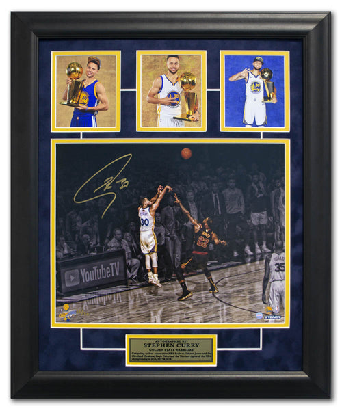 Stephen Curry Golden State Warriors Signed Triple NBA Champion 19x23 Frame #/30