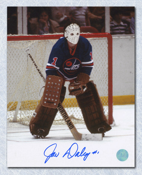Joe Daley Winnipeg Jets Autographed Classic WHA Goalie 8x10 Photo