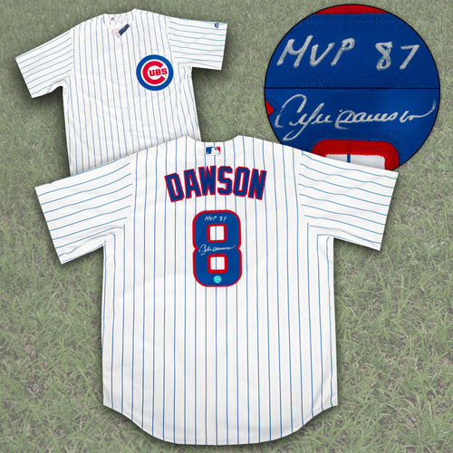 Andre Dawson Chicago Cubs Autographed Replica Baseball Jersey with MVP 87 Note