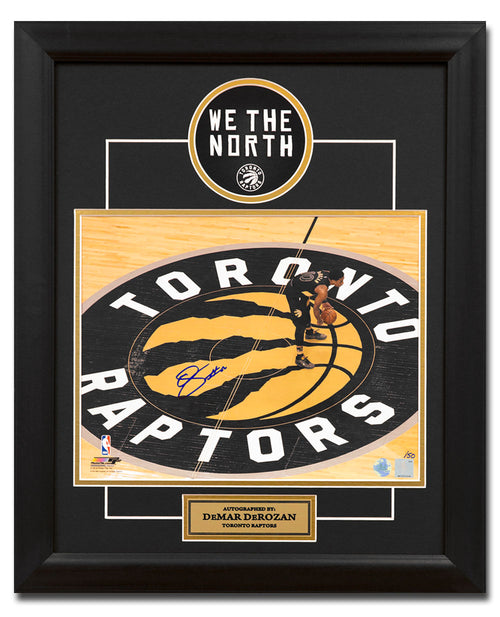 DeMar DeRozan Toronto Raptors Autographed Center Court 19x23 Frame #/50