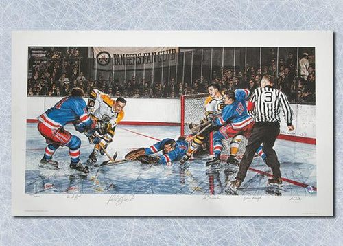 In The Slot Original Six Art Print Signed By: Giacomin Hadfeild Esposito & Bucyk
