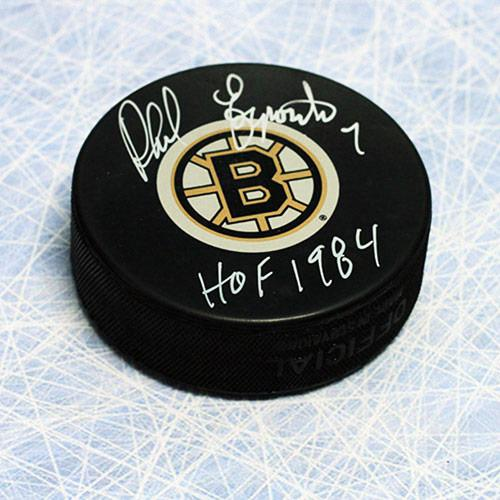 Phil Esposito Boston Bruins Autographed Hockey Puck with HOF Inscription
