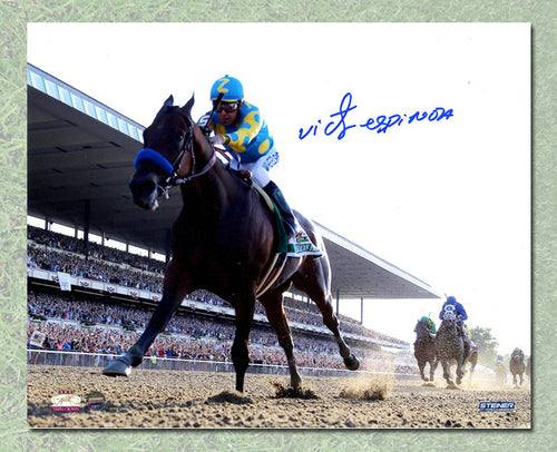 Victor Espinoza Signed American Pharoah Belmont Stakes Triple Crown 8x10 Photo