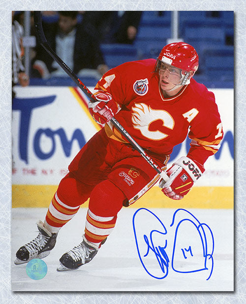 Theo Fleury Calgary Flames Autographed Hockey Action 8x10 Photo
