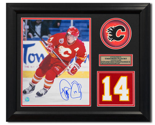 Theo Fleury Calgary Flames Signed Franchise Jersey Number 23x19 Frame