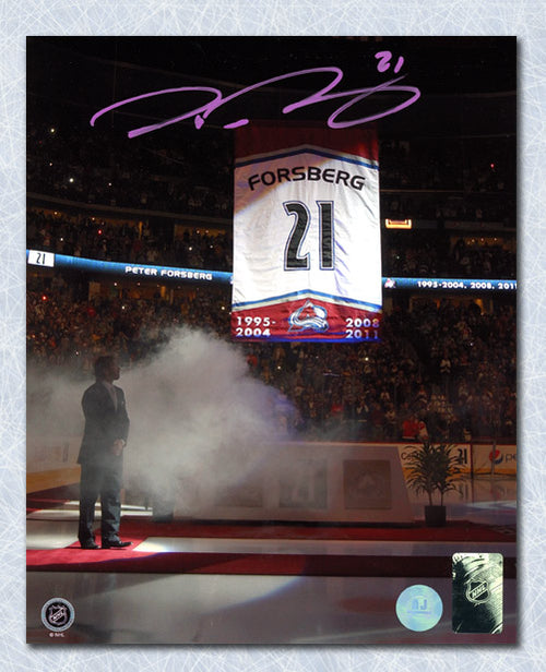Peter Forsberg Colorado Avalanche Autographed Retirement Banner 8x10 Photo
