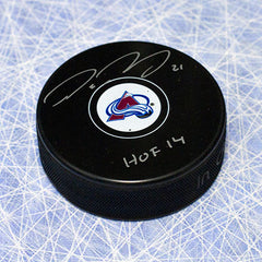 Peter Forsberg Colorado Avalanche Autographed Hockey Puck with HOF Note