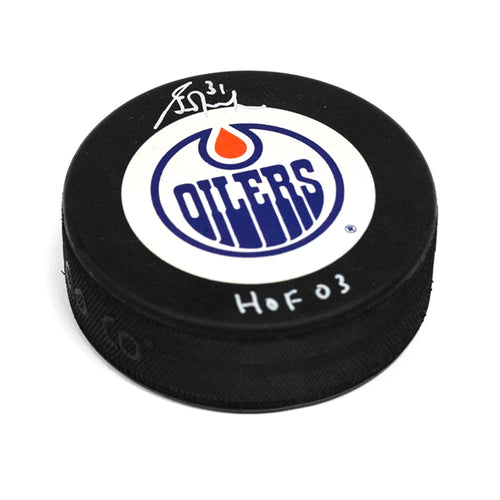 Grant Fuhr Edmonton Oilers Autographed Hockey Puck with HOF Inscription