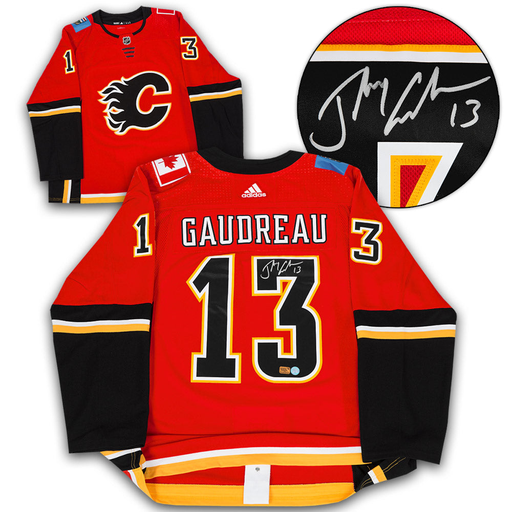 hot sale online c4c5c fdcd7 Johnny Gaudreau Calgary Flames Autographed Adidas Authentic Hockey Jersey