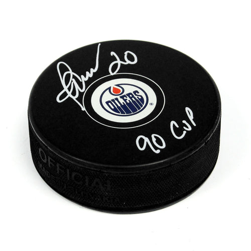 Martin Gelinas Edmonton Oilers Signed Autograph Model Hockey Puck